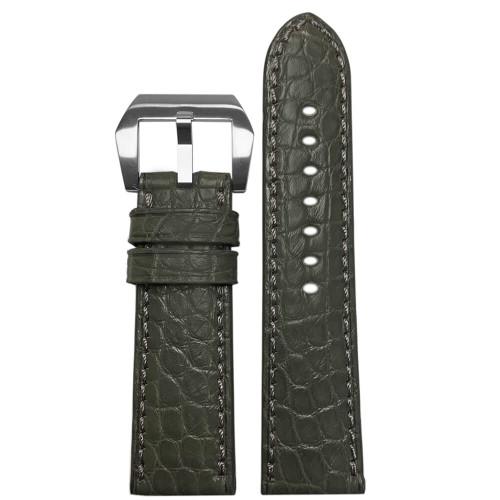 24mm Stone Grey Padded Classic Alligator, Flank Cut, Watch Strap with Match Stitching   Panatime.com