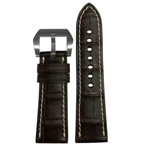 26mm Coffee Matte Genuine Alligator Watch Strap with White Stitching for Panerai Radiomir | Panatime.com