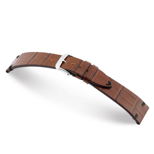 Mahogany RIOS1931 Hollywood | Embossed Leather Watch Band with Black Minimal Stitching
