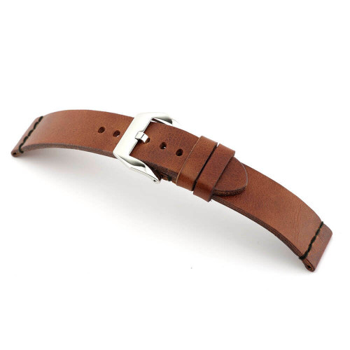 Mahogany RIOS1931 Birmingham | Vintage Leather Watch Band with Black Minimal Stitching