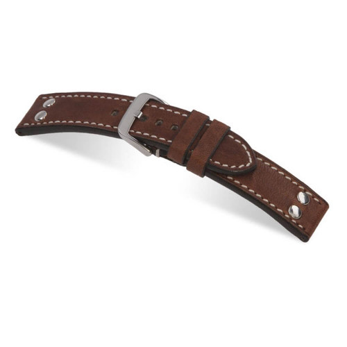RIOS1931 Mahogany Chesterfield, Genuine Vintage Leather Watch Strap with Rivets | Panatime.com