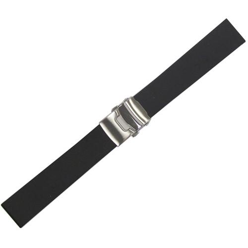 20mm Black Bonetto Cinturini Model 300L Smooth Diver - Genuine NBR Italian Rubber Watch Strap with Deploy Clasp | Panatime.com