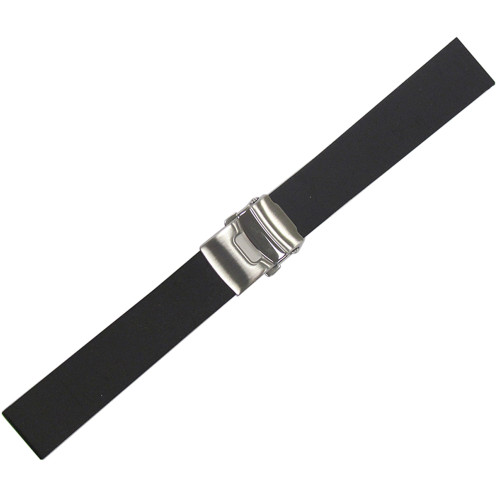 20mm Black Bonetto Cinturini Model 300L Smooth Diver - Genuine NBR Italian Rubber Watch Strap with Deploy Clasp | Panatime.com