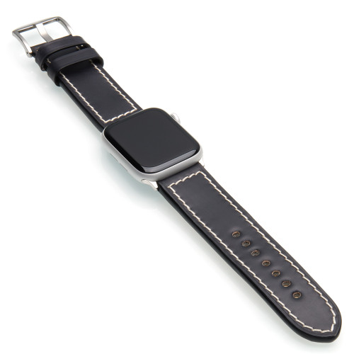 Black Shell Cordovan Leather Watch Band for Apple Watch | Panatime.com