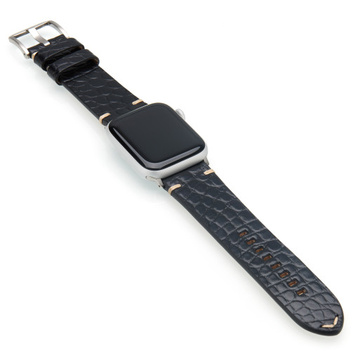 Black Genuine Alligator Flank Cut Watch Band For Apple Watch | Panatime.com