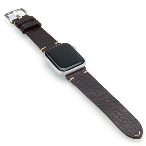 Mocha Genuine Alligator Flank Cut Watch Band For Apple Watch | Panatime.com