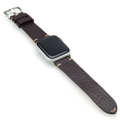 Mocha Genuine Alligator Flank Cut Watch Band For Apple Watch | Panatime.com