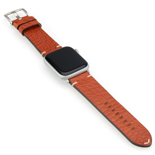 Cognac Genuine Alligator Flank Cut Watch Band For Apple Watch | Panatime.com