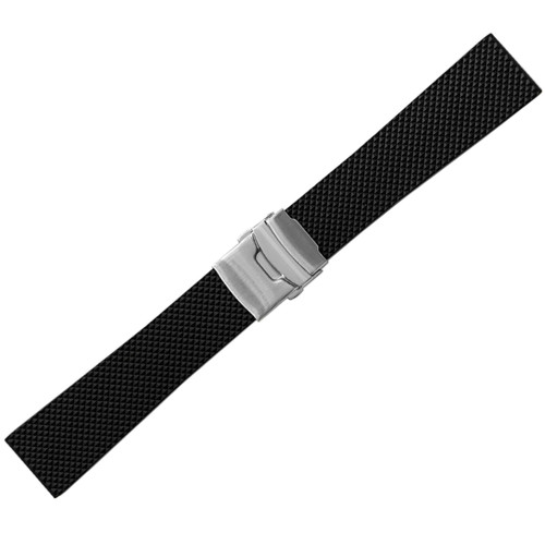 24mm Black Bonetto Cinturini Model 300D Diamond Diver - Genuine NBR Italian Rubber Watch Strap with Deploy Clasp | Panatime.com