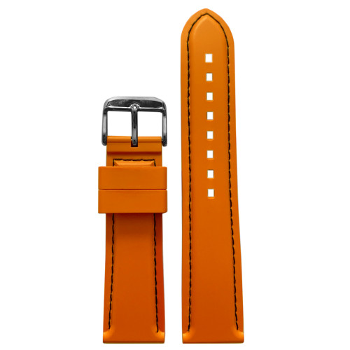 22mm Orange Bonetto Cinturini Model 325 Black Stitched Diver - Genuine NBR Italian Rubber Watch Strap | Panatime.com