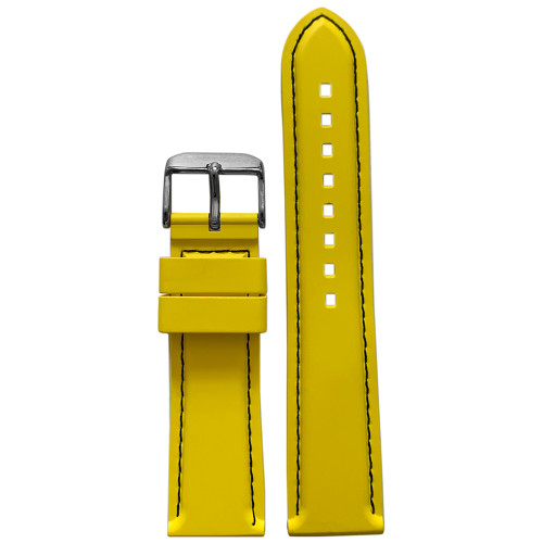 22mm Yellow Bonetto Cinturini Model 325 Black Stitched Diver - Genuine NBR Italian Rubber Watch Strap | Panatime.com