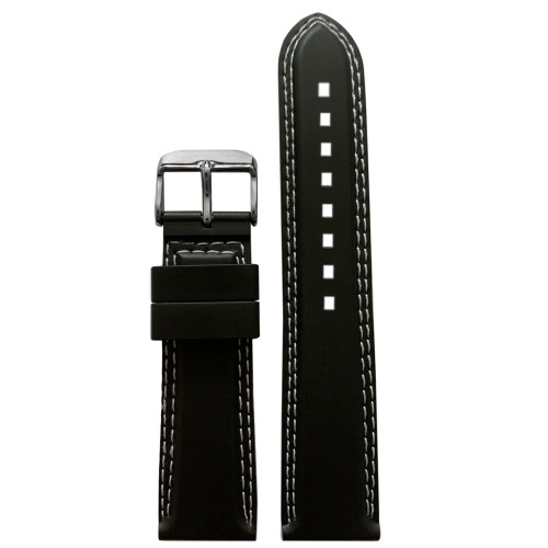 22mm Black Bonetto Cinturini Model 325 | Double White Stitching | Genuine NBR Italian Rubber Watch Strap | Panatime.com