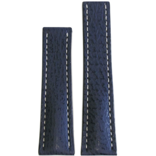 20mm Navy Genuine Shark Watch Strap with White Stitching for Breitling Deploy (22x18) | Panatime.com