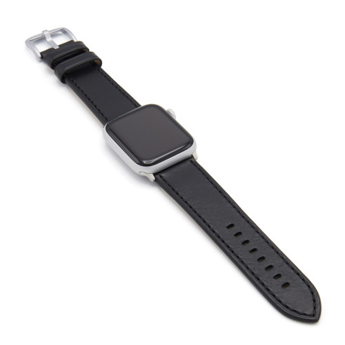 Black Russian Leather Watch Band for Apple Watch