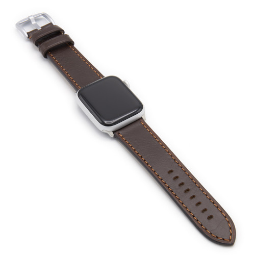 Mocha Russian Leather Watch Band for Apple Watch | Match Stitching