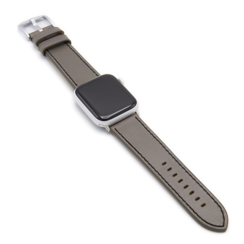 Grey Russian Leather Watch Band for Apple Watch | Black Stitching