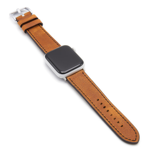 Oxford | Cognac Vintage Leather Watch Band with Black Stitching for Apple Watch