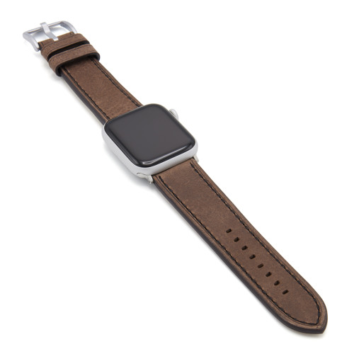 Oxford | Mocha Vintage Leather Watch Band with Black Stitching for Apple Watch