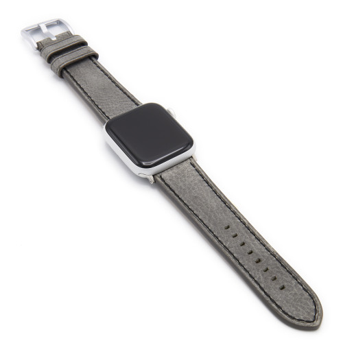 Oxford | Stone Grey Vintage Leather Watch Band with Black Stitching for Apple Watch
