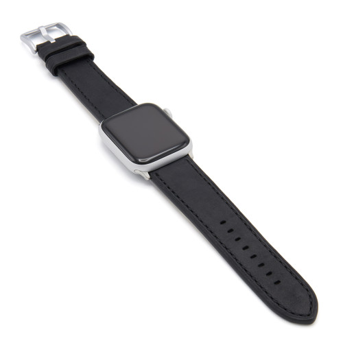 Oxford | Black Vintage Leather Watch Band with Black Stitching for Apple Watch