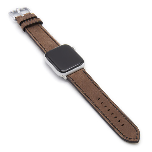 Mocha Vintage Leather Watch Band with Black Stitching for Apple Watch