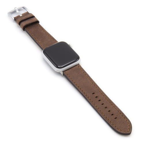 Mocha Vintage Leather Watch Band with Match Stitching for Apple Watch