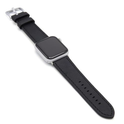 Black Vintage Leather Watch Band with Match Stitching for Apple Watch