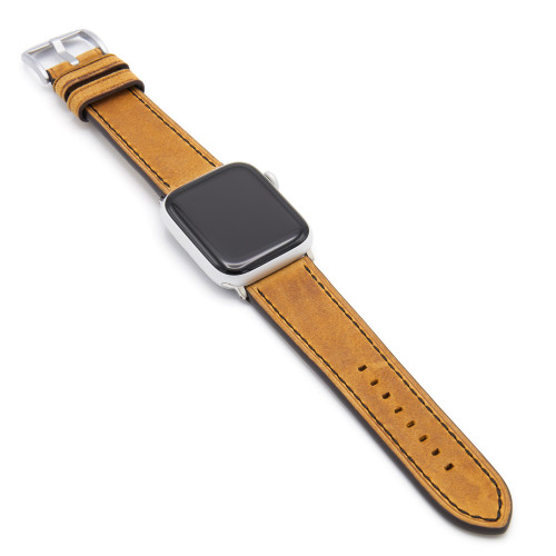 Honey Vintage Leather Watch Band with Black Stitching for Apple Watch