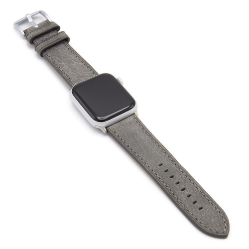 Grey Vintage Leather Watch Band with Match Stitching for Apple Watch
