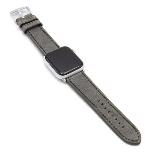 Grey Vintage Leather Watch Band with Black Stitching for Apple Watch