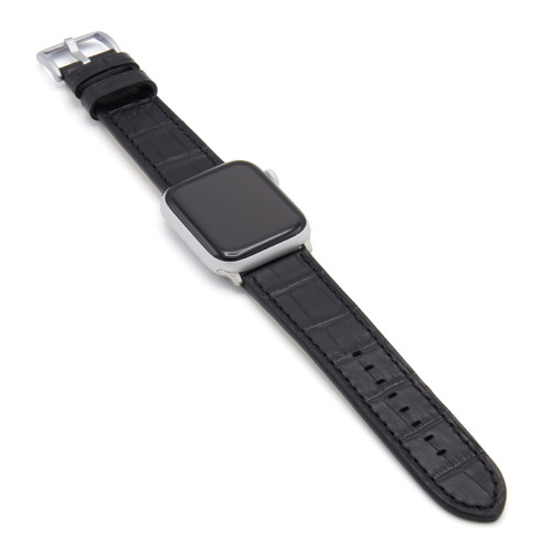 Black Gator | Embossed Leather Watch Band with Black Stitching for Apple Watch