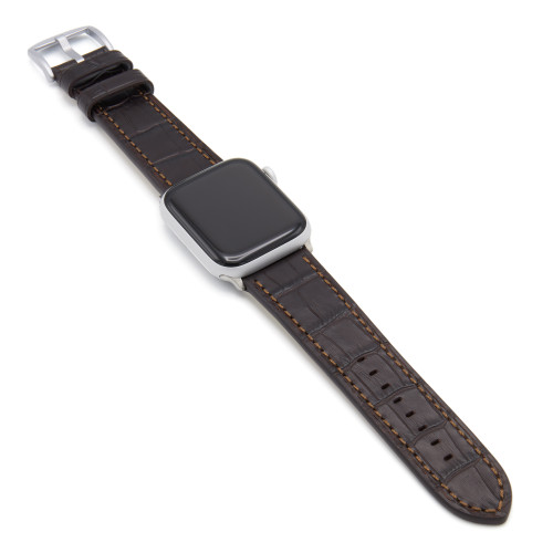 Mocha Gator | Embossed Leather Watch Band with Match Stitching for Apple Watch