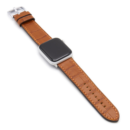 Cognac Gator | Embossed Leather Watch Band with Match Stitching for Apple Watch