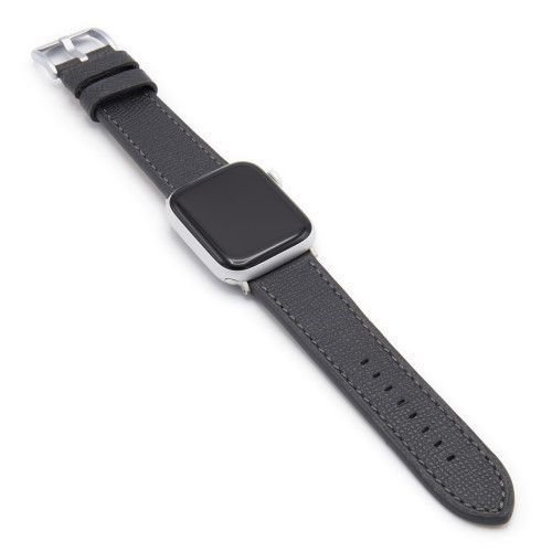 Graphite French | Leather Watch Band with Match Stitching for Apple Watch