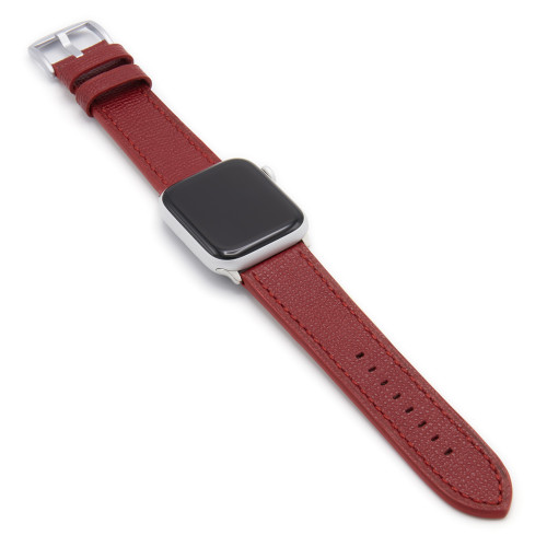 Ruby French | Leather Watch Band with Match Stitching for Apple Watch