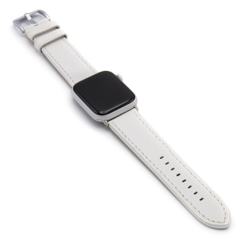 White French | Leather Watch Band with Match Stitching for Apple Watch