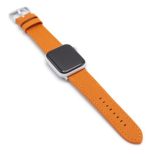 Orange French | Leather Watch Band with Match Stitching for Apple Watch