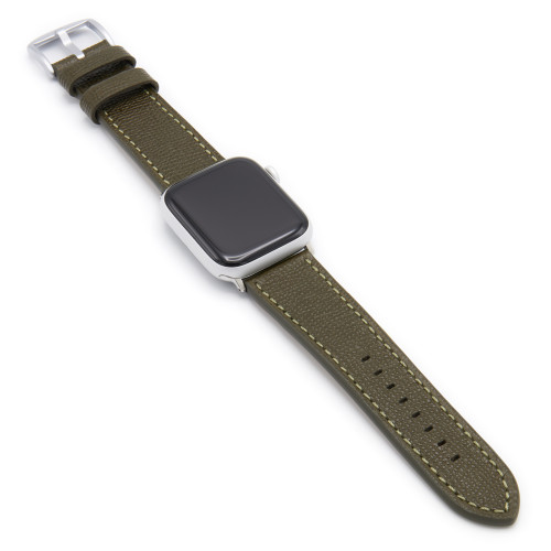 Military Olive French | Leather Watch Band with Match Stitching for Apple Watch