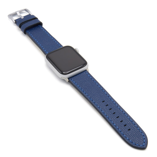 Navy French | Leather Watch Band with Match Stitching for Apple Watch