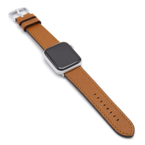 Honey French | Leather Watch Band with Match Stitching for Apple Watch