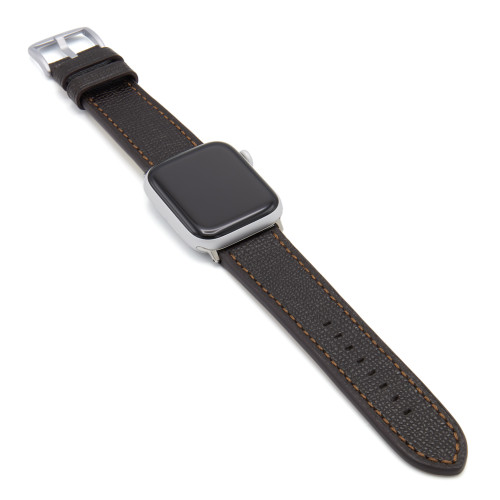 Mocha French | Leather Watch Band with Match Stitching for Apple Watch