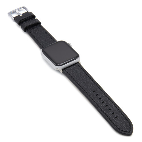 Black French | Leather Watch Band with Match Stitching for Apple Watch