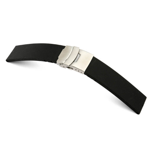 RIOS1931 Black Richmond, Rubber Watch Strap with Deploy Buckle Attached (Water Resistant) | Panatime.com