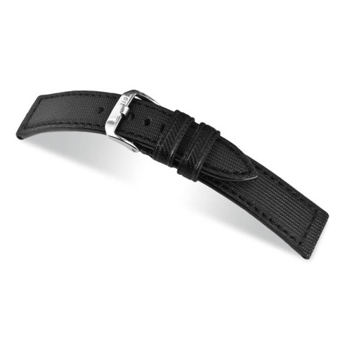RIOS1931 Black Advance, Synthetic Nytech - Caoutchouc Lining (Water Resistant) Watch Strap | Panatime.com