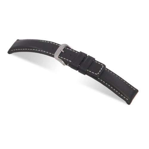 RIOS1931 Black Submariner, Hydrophobic Leather Watch Strap | Panatime.com