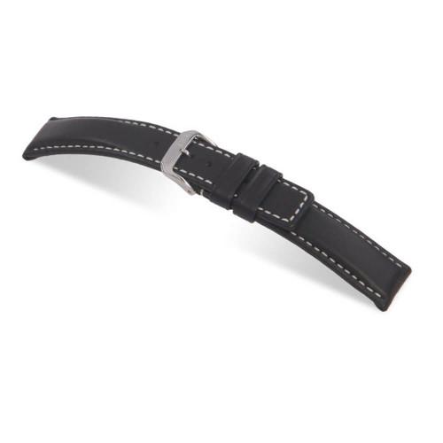 RIOS1931 Black Submariner, Hydrophobic Leather Watch Strap | Panatime.com