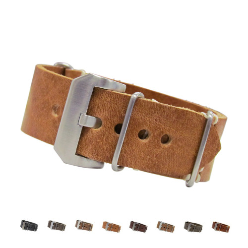 Panerai Style Vintage Leather One-Piece Watch Strap | Panatime.com