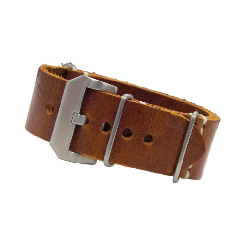 Red Oak Italian Panerai Style Vintage Leather One-Piece Watch Strap | Panatime.com