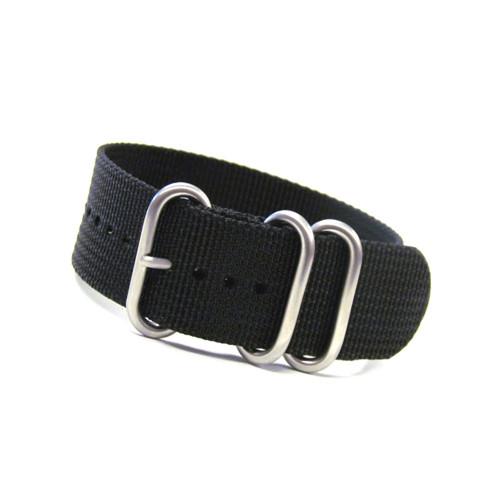Black 3-Ring Ballistic Nylon Watch Strap | Panatime.com