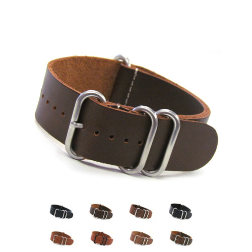 4-Ring Classic Leather NATO Watch Strap | Panatime.com